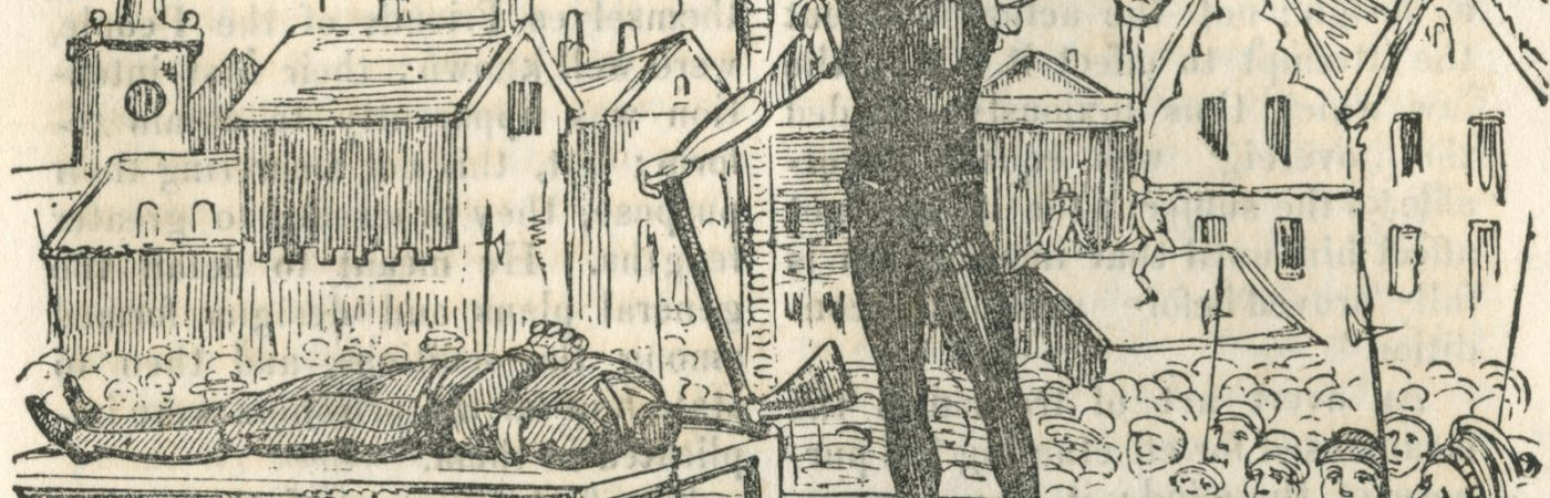 The public execution by decapitation in Edinburgh, Scotland, in 1794 of Robert Watt for High Treason along with David Downie. Public execution was a popular event and crowds of people would turn up to watch!