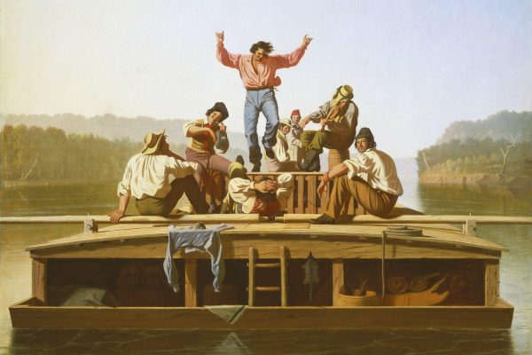 George Caleb Bingham, American, 1811–1879 The Jolly Flatboatmen (1), 1846 oil on canvas Manoogian Collection, on loan to National Gallery of Art